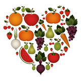 colorful set of fruits and vegetable in shape heart Royalty Free Stock Photography