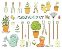 Colorful set of garden equipment Royalty Free Stock Image
