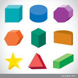 Colorful set of geometric shapes, platonic solids, vector illustration. Design Royalty Free Stock Photos