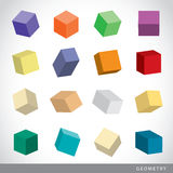 Colorful set of geometric shapes, platonic solids, vector illustration Royalty Free Stock Photo
