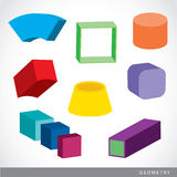 Colorful set of geometric shapes, platonic solids, vector illustration Stock Photos