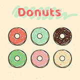 Colorful set of glazed donuts with caramel and sweets. Stock Photography