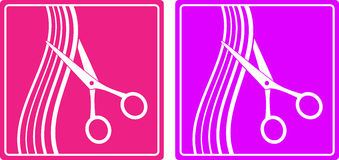 Colorful set of hair salon sign. With hair and scissors silhouette Royalty Free Stock Images