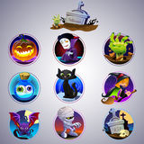 Colorful set of halloween icon. Set of nine cartoon item for halloween Stock Photos