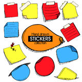 Colorful set of hand drawn frames or stickers Royalty Free Stock Image