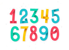Colorful set of hand drawn numbers isolated on white Stock Images