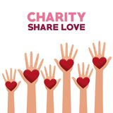Colorful set hands with heart in palms charity share love. Vector illustration Stock Illustration