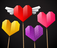 Colorful set of hearts on dark background Stock Photos