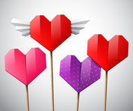 Colorful set of hearts. Vector colorful set of hearts, different color bright paper origami hearts on a sticks Stock Images