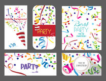 Colorful set of holiday cards with confetti and ticker tapes Royalty Free Stock Photos
