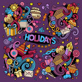 Colorful set of holidays doodles design Stock Images