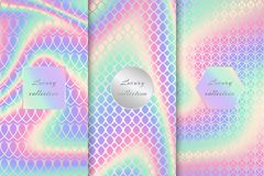 Set of colorful neon backgrounds. Colorful set of holographic backgrounds for a bright design in neon effect Stock Photography