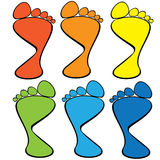 Colorful set of human footprints Royalty Free Stock Photos