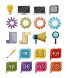 Colorful set of icons elements of web programming languages. Vector illustration Stock Images