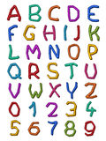 Colorful set of irregular letters and digits Stock Photo