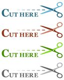 Colorful set isolated dotted lines with scissors Stock Photos