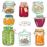 Colorful set of isolated mason jars Stock Images