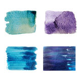 Colorful set  isolated watercolor brush paint texture Royalty Free Stock Images