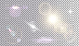 Colorful set of lens flare effects royalty free illustration