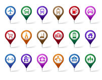 Colorful Set of Location, Places, Travel and Destination Pin Icons. And Buttons for Navigation and Maps.  Vector Illustration Royalty Free Stock Photography