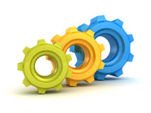 Colorful set of machine cogwheel gears Stock Photography