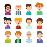 Colorful set of male and female faces in flat design. Colourful set of male and female faces in flat design. Vector illustration. Collection of cute avatars Royalty Free Stock Photo