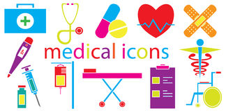 Colorful Set of medical icons vector isolated Royalty Free Stock Photos
