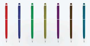 Colorful set of metal pens. Vector illustration Stock Photo