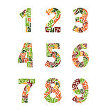 Colorful set of numbers in the ethnic style Stock Photos
