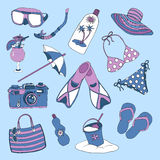 Colorful set with objects for beach holidays theme Stock Photos