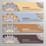 Colorful set of ornamental banners with flower mandala in beige, Stock Photo
