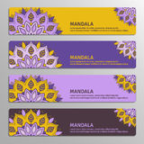 Colorful set of ornamental banners with flower mandala in yellow Stock Photo