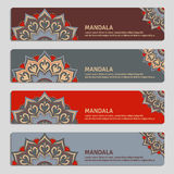Colorful set of ornamental banners with mandala. Vintage decorat Royalty Free Stock Image