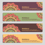Colorful set of ornamental banners with mandala. Vintage decorat Stock Photography