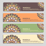 Colorful set of ornamental banners with mandala. Vintage decorat Stock Photo