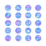 Colorful set with outline icons of sewing equipment and needlework. Vector colorful watercolor set with outline icon of sewing equipment and needlework Stock Photos