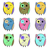 Colorful set with owls Stock Images