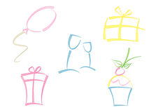 Colorful set of party icons Royalty Free Stock Image