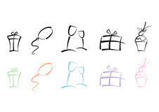 Colorful set of party icons Royalty Free Stock Images