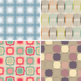 Colorful set of patterns. Set of four seamless patterns Stock Photos