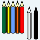 Colorful set of pencils. Isolated on blue background. Vector silhouettes Stock Photos