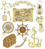 Colorful set with pirate objects Stock Photography
