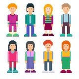 Colorful set of pixel art style characters. Men and women standing on white background. Vector illustration. Pixel art Stock Illustration