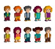 Colorful set of pixel art style isometric characters. Men and women are standing on white background. Vector illustration Royalty Free Stock Photos