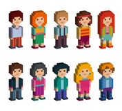 Colorful set of pixel art style isometric characters. Men and women are standing on white background. Vector illustration Royalty Free Stock Photography