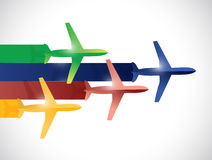 Colorful set of planes illustration design Royalty Free Stock Images