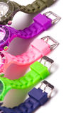 Colorful set of plastic watches Stock Photos