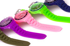 Colorful set of plastic watches Royalty Free Stock Photos
