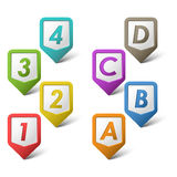 Colorful set pointers with numbers and letters. Eps 10 Stock Image
