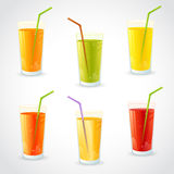 Colorful set of realistic glasses with juice Stock Images